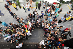 Lewis Hamilton, Mercedes AMG F1 and Nico Rosberg, Mercedes AMG F1 with the media
