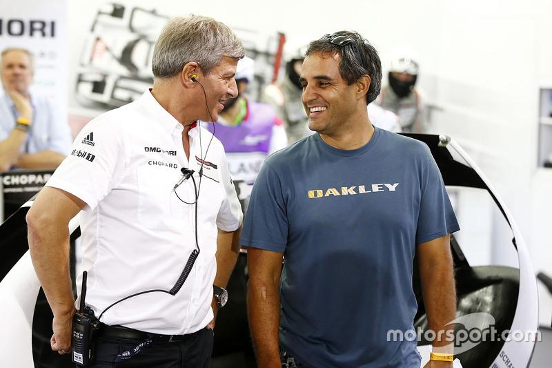 Fritz Enzinger, Porsche Team, LMP1-Leiter, mit Juan Pablo Montoya