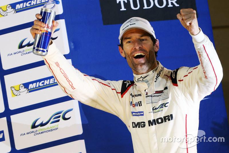Weltmeister 2015: Mark Webber, feiert auf dem Podium