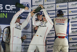 Podium: overall winners Romain Dumas, Neel Jani, Marc Lieb, Porsche Team, third place Alexander Wurz, Stéphane Sarrazin, Mike Conway, Toyota Racing