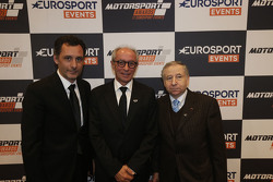 Jefe de Eurosport Events François Ribeiro, Presidente de la FIM Vito Ippolito, presidente de la FIA Jean Todt