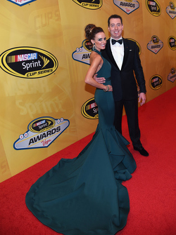 Kyle Busch, Joe Gibbs Racing Toyota with wife Samantha