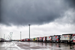 Trucks lined up for shipping