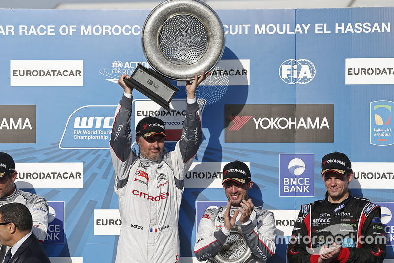 Podium: winner Yvan Muller, Citroën C-Elysee WTCC, Citroën World Touring Car team, second place Sébastien Loeb, Citroën C-Elysee WTCC, Citroën World Touring Car team, third place Jose Maria Lopez, Citroën C-Elysee WTCC, Citroën World Touring Car team and Tom Chilton, Chevrolet RML Cruze TC1, ROAL Motorsport