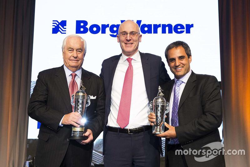 Roger Penske James Verrier Ceo Of Borgwarner And Juan Pablo Montoya With Baby Borg Trophies At Warner Trophy