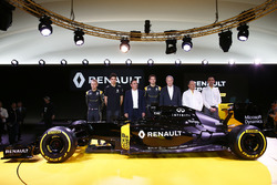 (L to R): Kevin Magnussen, Renault F1 Team; Esteban Ocon, Renault F1 Team Test Driver; Carlos Ghosn, Chairman of Renault; Jolyon Palmer, Renault F1 Team; Jerome Stoll, Renault Sport F1 President; Frederic Vasseur, Renault F1 Team Racing Director; Cyril Abi