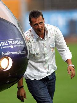 Nazionali Piloti vs. VIP football match: Michael Schumacher, Test Driver, Scuderia Ferrari, arrives