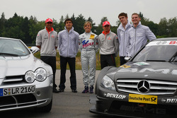 Lewis Hamilton, McLaren Mercedes and Heikki Kovalainen, McLaren Mercedes with DTM Drivers