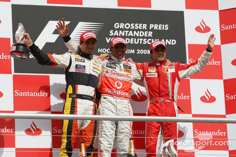 2008: 1. Lewis Hamilton, 2. Nelson Piquet Jr., 3. Felipe Massa