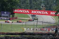 Indy Cars snake through the