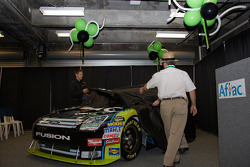 Aflac press conference: Carl Edwards and Jack Roush with Aflac Racing gear up for 2009 NASCAR Season by unveiling the new paint scheme