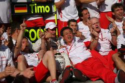 Timo Glock celebrates with Toyota F1 team