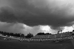 Menacing clouds during pace lap