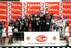 GT1 podium: class and overall winners Andrea Bertolini, Michael Bartels, Stéphane Sarrazin and Eric Van de Poele, second place Miguel Ramos, Alexandre Negrao, Stéphane Lemeret and Alessandro Pier Guigi, third place Philipp Peter, Allan Simonsen, Darren