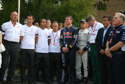 Team Principals and drivers have a minute silence in respect of the victims of the Madrid Plane crash