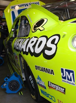 The Menards Chevy sits in the garage