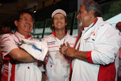 George Tadashi Yamashina, Toyota Motorsport Vice Chairman, Jarno Trulli, Toyota Racing and Vijay Mallya, Force India F1 Team, Owner and Kingfisher CEO