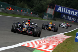 Sébastien Bourdais, Scuderia Toro Rosso, STR03 leads Mark Webber, Red Bull Racing, RB4