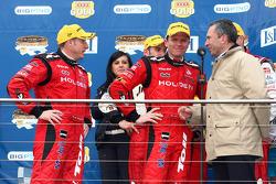 Podium: Garth Tander and Mark Skaife win the LandH 500