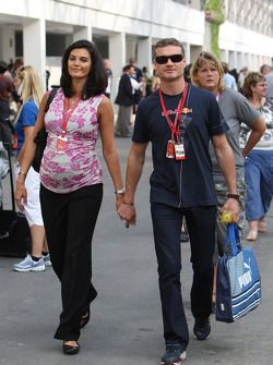 Karen Minier, Fiancée of David Coulthard and David Coulthard, Red Bull Racing