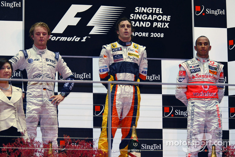 2008: 1. Fernando Alonso, 2. Nico Rosberg, 3, Lewis Hamilton