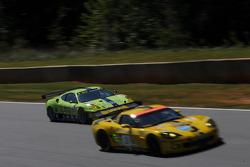 #61 Risi Competizione Ferrari 430 GT: Tracy Kohn, Nic Jonsson, Eric van de Poele getting passed by the #3 Corvette Racing Chevrolet Corvette C6-R: Johnny O'Connell, Jan Magnussen, Ron Fellows
