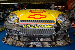 Kevin Harvick's Shell/Pennzoil Chevy sits in the garage