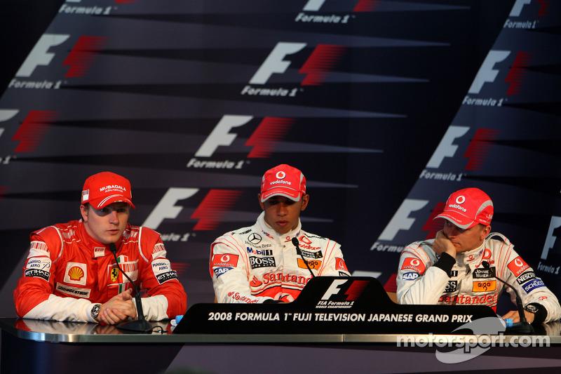 Conferencia de prensa de la FIA: Ganador de la pole Lewis Hamilton, segundo puesto Kimi Raikkonen y el tercer puesto Heikki Kovalainen