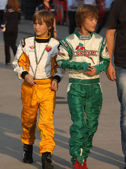 Young racing drivers in the paddock