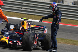 Mark Webber, Red Bull Racing stops after a engine blow and fire