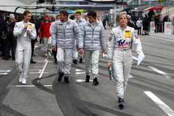 Susie Stoddart, Persson Motorsport AMG Mercedes, AMG Mercedes C-Klasse returning from the drivers briefing followed by her fellow drivers