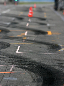 Rubber on the pitlane