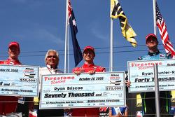 Podium: race winner Ryan Briscoe, second place Scott Dixon, third place Ryan Hunter-Reay