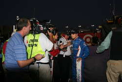 David Gilliland speaks to the media after his on-track incident with Juan Pablo Montoya