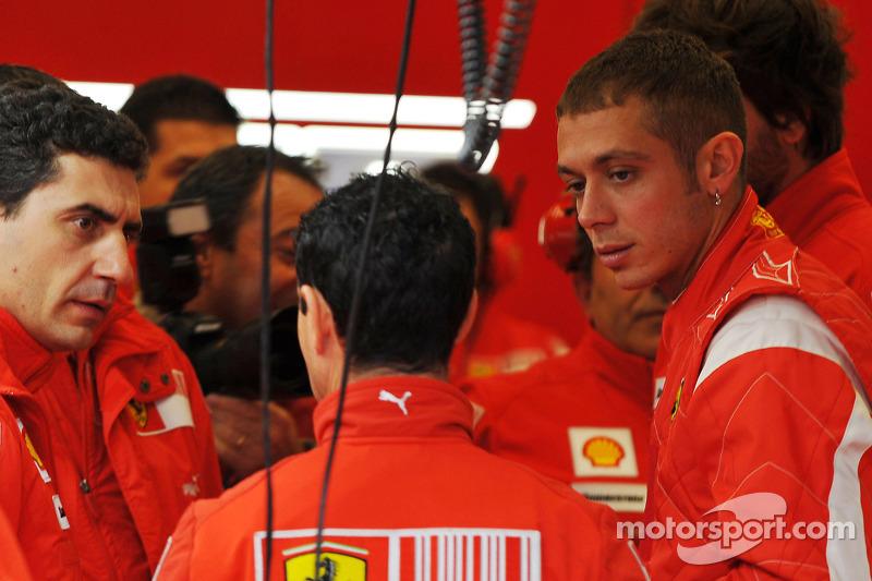 Valentino Rossi lors des tests de la Ferrari F2008 au Mugello, en 2008