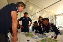 Launceston, Australia: Race director Tim Saul talks to Javith Ababu and Gibson Kemori of team No Roads Expiditions