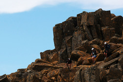 Launceston, Australia: Mark Webber and Emma Weitnauer make their way down from Cradle Mountain