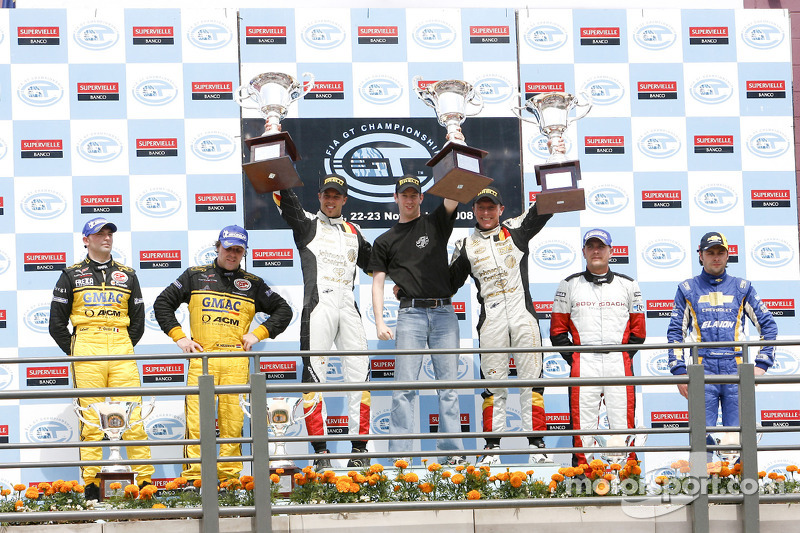 GT1 podium: class and overall race winners Anthony Kumpen and Bert Longin, second place Mike Hezemans and Fabrizio Gollin, third place Maxime Soulet and Christian Ledesma
