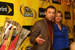 Chad Knaus, the only crew chief to win three consecutive NASCAR Sprint Cup Series titles, answers a fan question at Foley's as NASCAR on FOX and SPEED reporter Krista Voda looks on