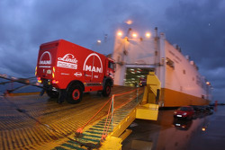 MAN Rally Team trucks team enters the boat at Le Havre for the crossing to Buenos Aires