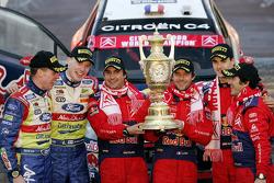 Podium: rally winners Sébastien Loeb and Daniel Elena, second place Jari-Matti Latvala and Miikka Anttila, third place Daniel Sordo and Marc Marti