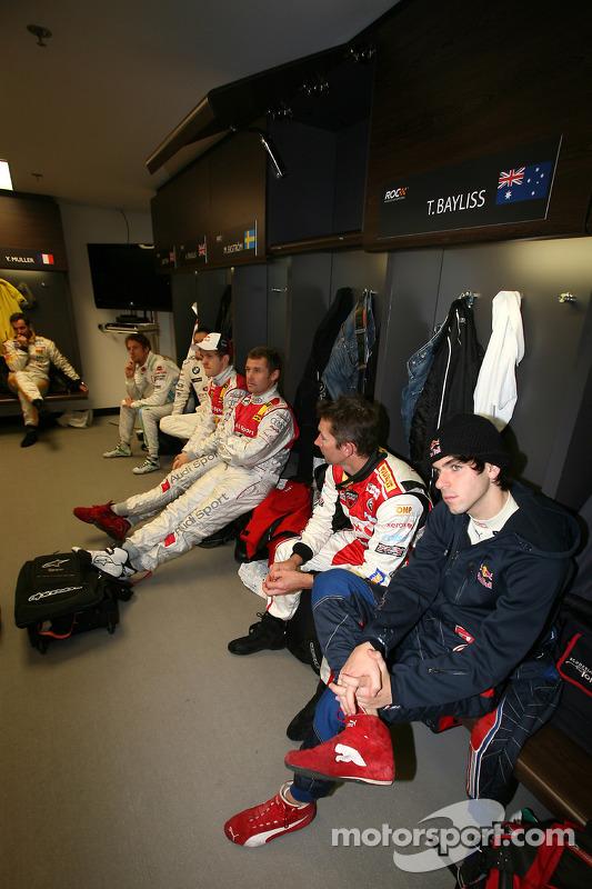 Jaime Alguersuari, Troy Bayliss, Tom Kristensen and Mattias Ekström in the drivers' briefing