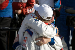 DP victory lane: race winner David Donohue celebrates with Darren Law
