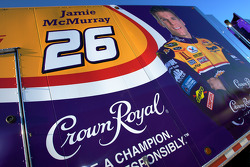 Crown Royal Ford hauler waits to enter the track in the staging area