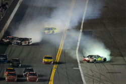 Paul Menard, Yates Racing Ford spins, Dale Earnhardt Jr., Hendrick Motorsports Chevrolet collide with Bobby Labonte, Hall of Fame Racing Ford, while Greg Biffle, Roush Fenway Racing Ford spins