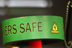 KERS SAFE sign on top of the Red Bull Racing, RB5