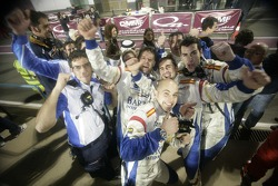 The Barwa International Campos Grand Prix mechanics celebrate their drivers  second and third positions