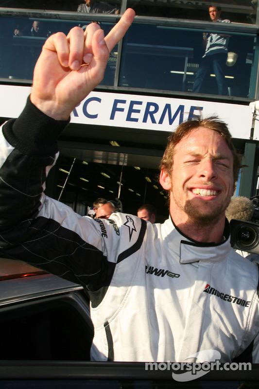 Pole winner Jenson Button, Brawn GP, celebrates