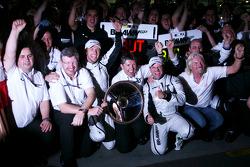 Ross Brawn Team Principal, Brawn GP, Jenson Button, Brawn GP, Nick Fry, Brawn GP, Chief Executive Officer, Rubens Barrichello, Brawn GP, Sir Richard Branson, Virgin Group CEO