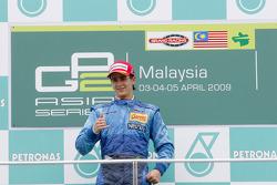 Diego Nunes celebrates his first GP2 Asia victory on the podium